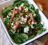 Lamb, snow pea and baby spinach salad