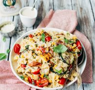 Creamy Roasted Garlic Pasta Salad with Bacon & Grilled Market Veggies
