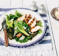 Crispy Kale Caesar Salad with Grilled Chicken